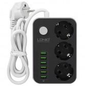 Удлинитель сетевой SE3631 на 3 розетки + зарядка 6 USB 3.4A